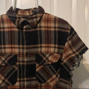 H&M Shirts - H&M Distressed flannel with cut off sleeves
